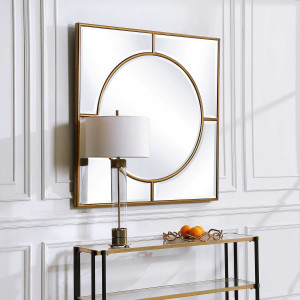 uttermost Stanford square mirror large gold wall decorative bullseye decorative