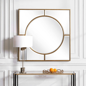 uttermost Stanford square mirror gold large 48 inch wall decorative gold