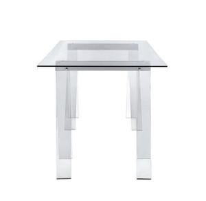 clear acrylic sawhorse leg glass top writing desk coaster furniture
