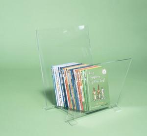 clear acrylic leaning bookshelf kids book rack stand holder bin organizer modern