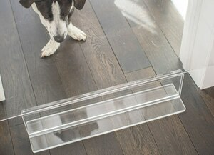 clear acrylic lucite moveable modern pet gate see through barrier