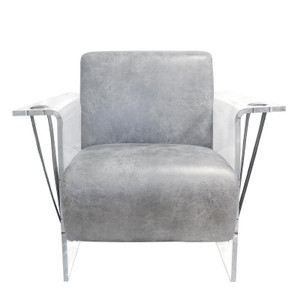 grey leather arm chair with clear acrylic sides legs arm