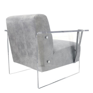 grey leather club chair faux leather with clear acrylic lucite panels arms legs