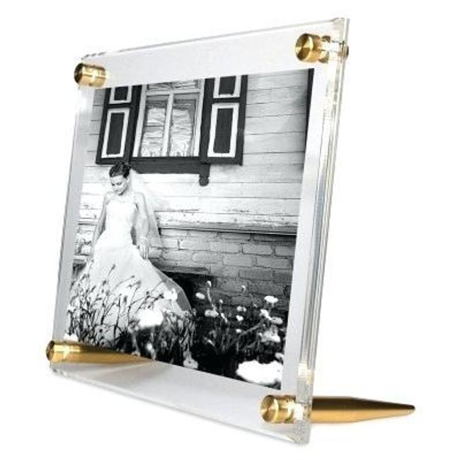 floating acrylic frameless modern leaner picture frame gold wexel