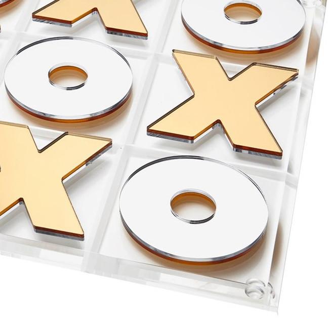 modern metallic gold silver lucite acrylic game board set