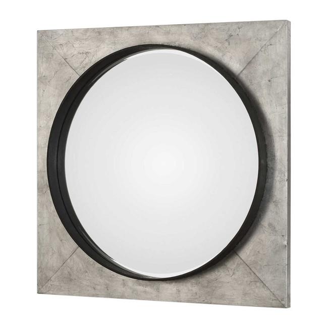 uttermost Solomon metallic silver large square wall mirror bullseye circle industrial modern