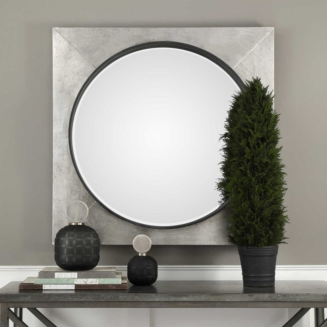 extra large square wall mirror uttermost Solomon metallic silver industrial modern style bullseye