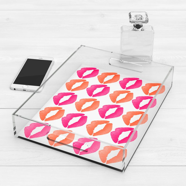 cheap acrylic trays for teen girls room with handles pink lips kisses accessories jewelry storage ideas
