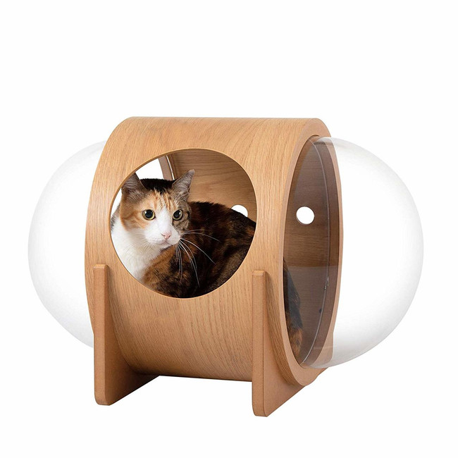 myzoo/amazon spaceship alpha cheap modern acrylic cat bed with double acrylic lucite plastic bubble windows door spaceship mid century modern pet house