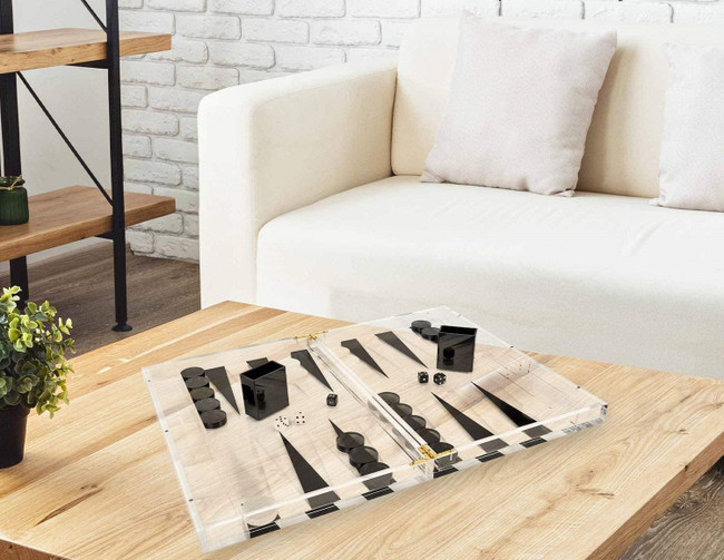 black Clear Acrylic Backgammon Set lucite designer luxury game set tizo