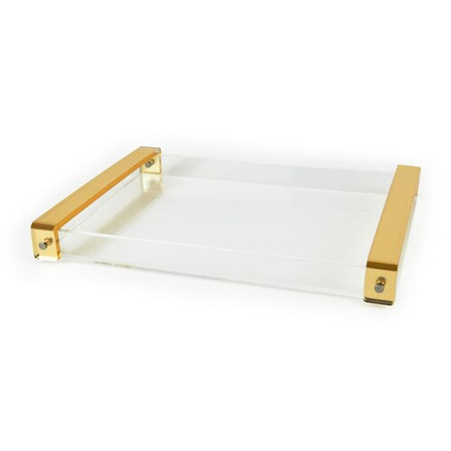 large custom clear lucite acrylic tray with brushed gold handles