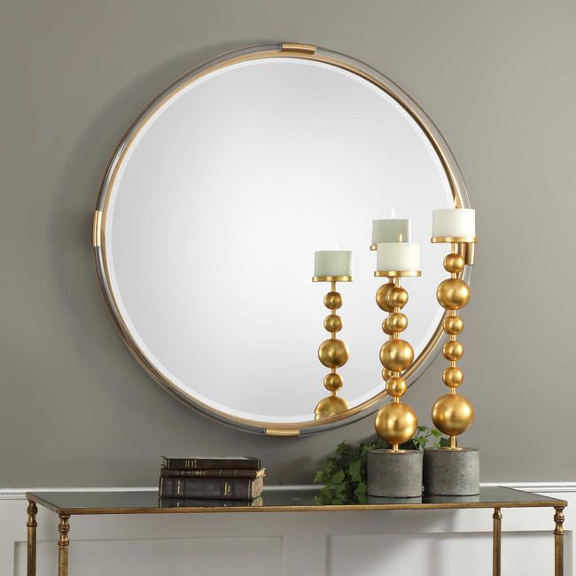 uttermost large round acrylic lucite decorative mirror mackai