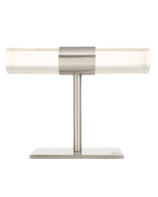 clear lucite acrylic jewelry stand with silver metal kendra scott