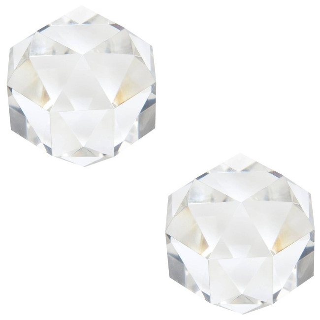 Facet Crystal Round Bookends, Pair