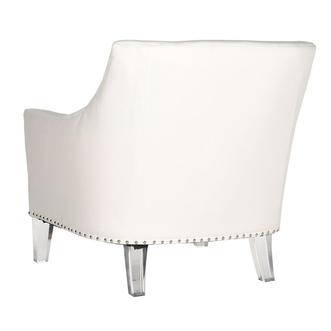 Hollywood Glam Acrylic ivory Club Chair clear acrylic leg lounge chair with nailheads in white