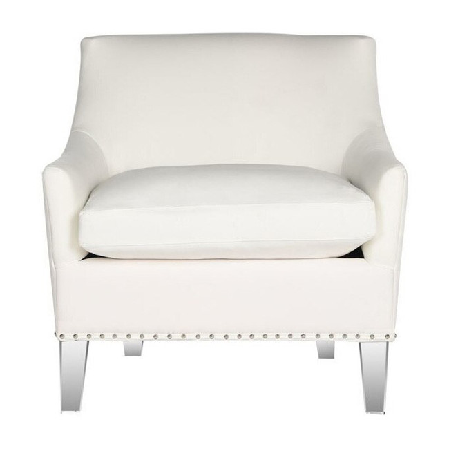 Hollywood Glam Acrylic ivory Club Chair  accent chair with clear legs, nailheads and white upholstery