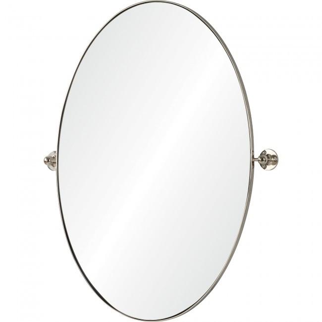 modern renwil azalea oval nickel pivot swivel bathroom vanity mirror