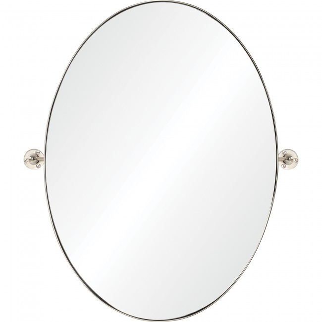 renwil azalea oval nickel pivot swivel bathroom vanity mirror
