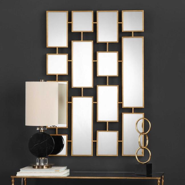 uttermost kennon large rectangular gold brass geometric decorative wall mirror contemporary