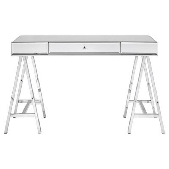 large mirrored desk with chrome legs easel sawhorse separate glass top architects desk silver