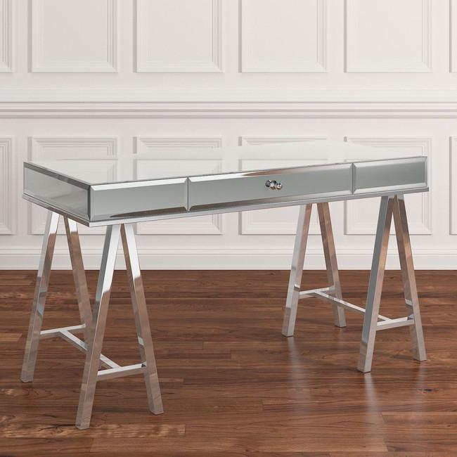 best mirrored sawhorse leg desk with drawer storage writing desk executive glam lux desk