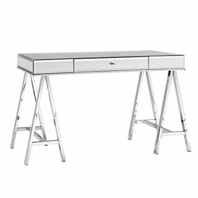 mirrored desk pbteen with storage drawer writing desk chic modern mirror office furniture