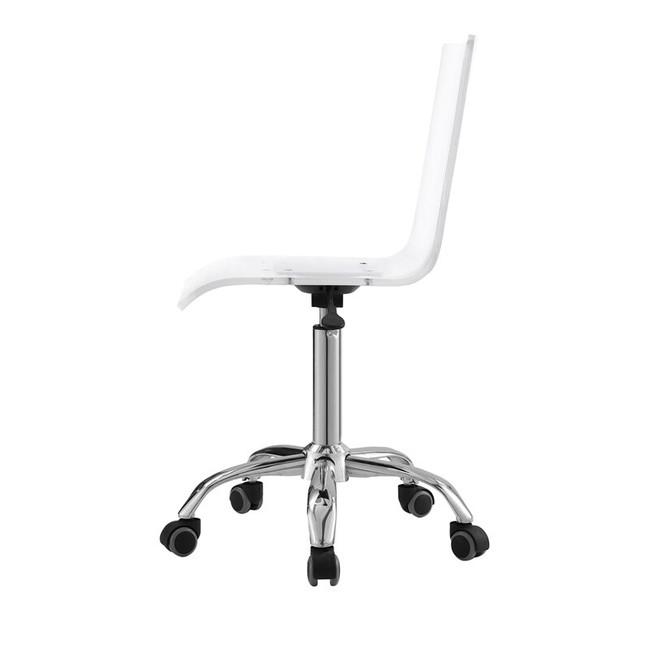 Casandra clear acrylic desk chair in transparent plastic lucite acrylic chrome base wheels swivel cheap