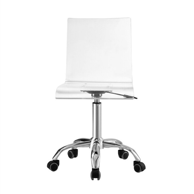Casandra Clear Acrylic Chair lucite transparent plastic desk chair wheels chrome base