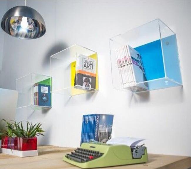 custom acrylic wall shelves orange easy to hang kids storage furniture
