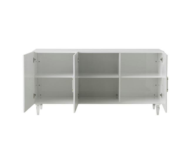 white modern sideboard lucite acrylic hardware mid century Tov Furniture Famke White Lacquer Buffet TOV-D5518