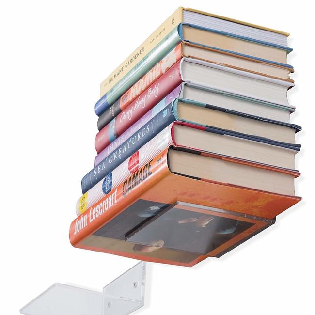 set of 15 acrylic bracket for books floating wall ledge shelf modern invisible