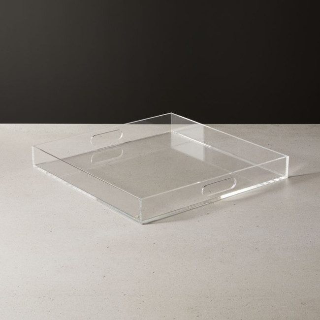 square acrylic clear lucite handles tray Russell hazel