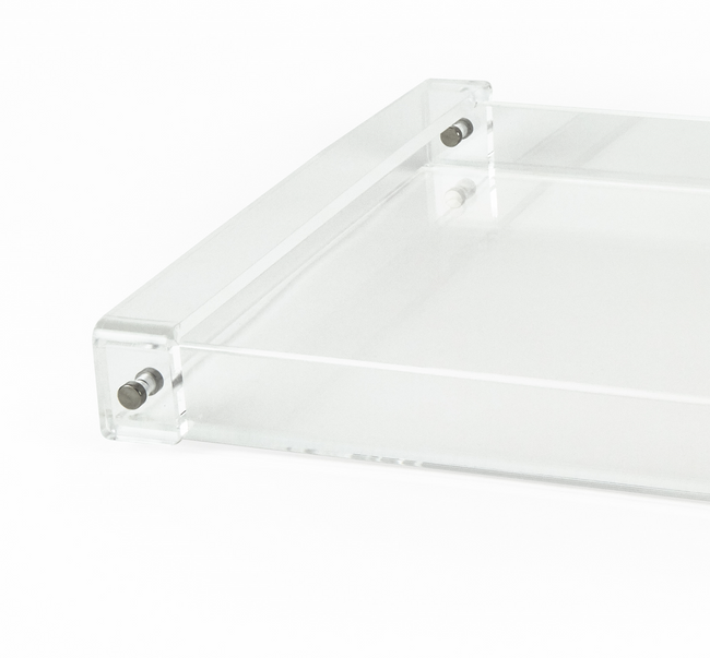 vintage lucite tray in clear acrylic with handles  wholesale