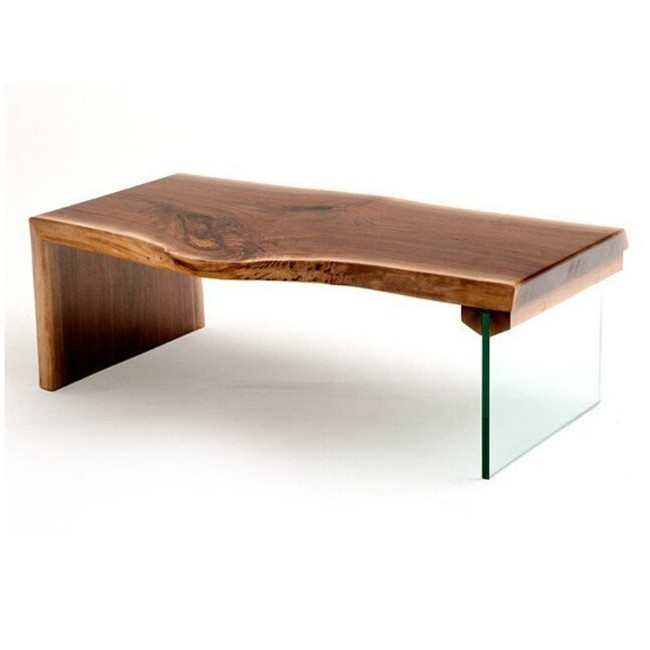 coffee table with live edge walnut top and glass leg (top side)