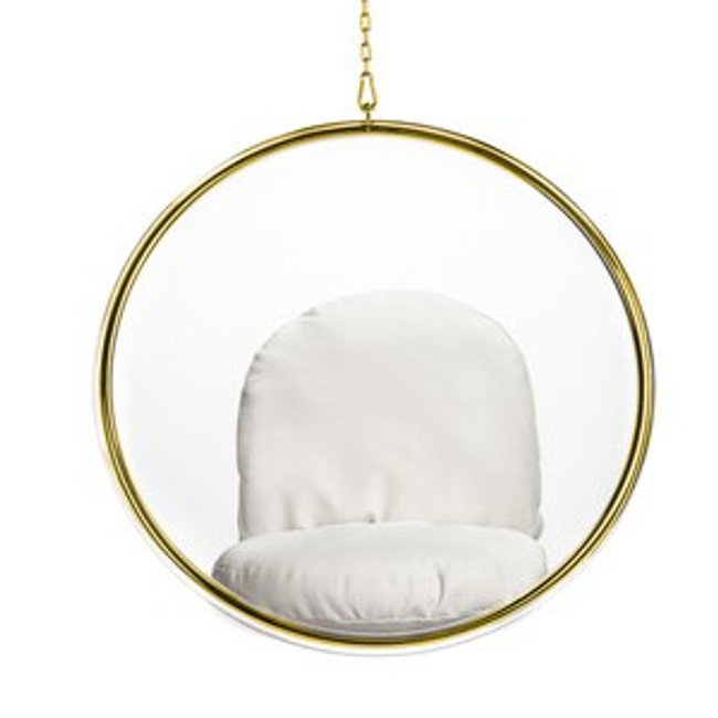 gold trim hanging bubble chair with white cushion set clear acrylic lucite plastic