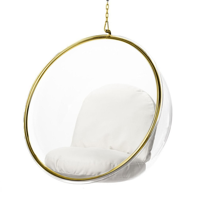 hanging lucite acrylic clear plastic bubble chair gold trim chain white cushion set