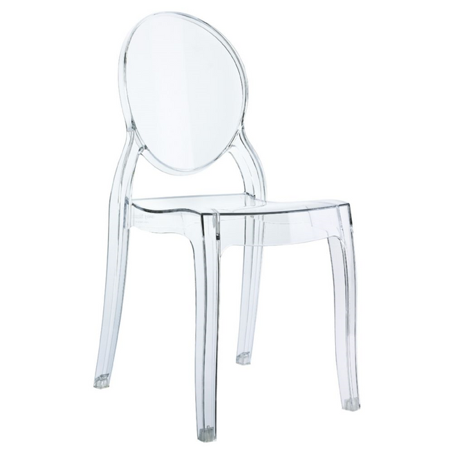 clear acrylic lucite plastic ghost children's kids size Baby Elizabeth Kids Chair Transparent