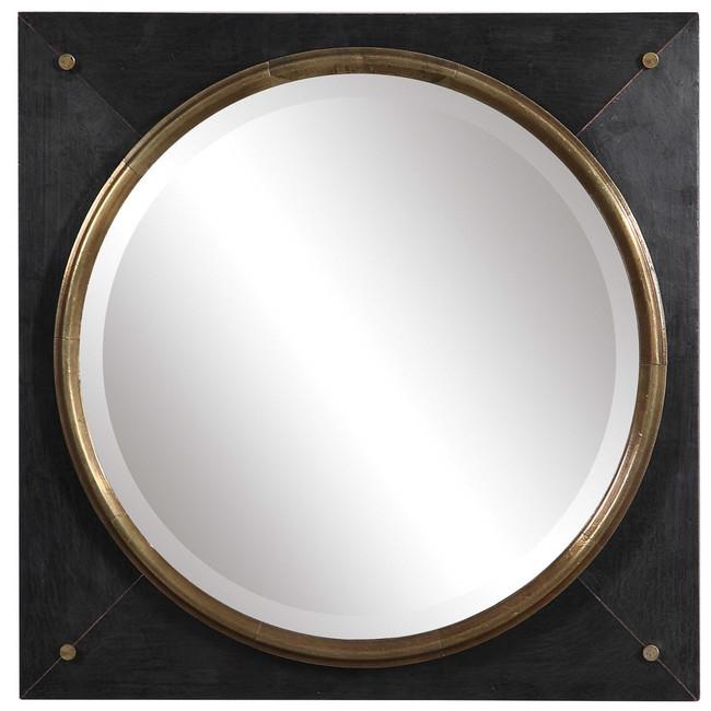 uttermost Tobiah Square Mirror black gold bullseye wall decor