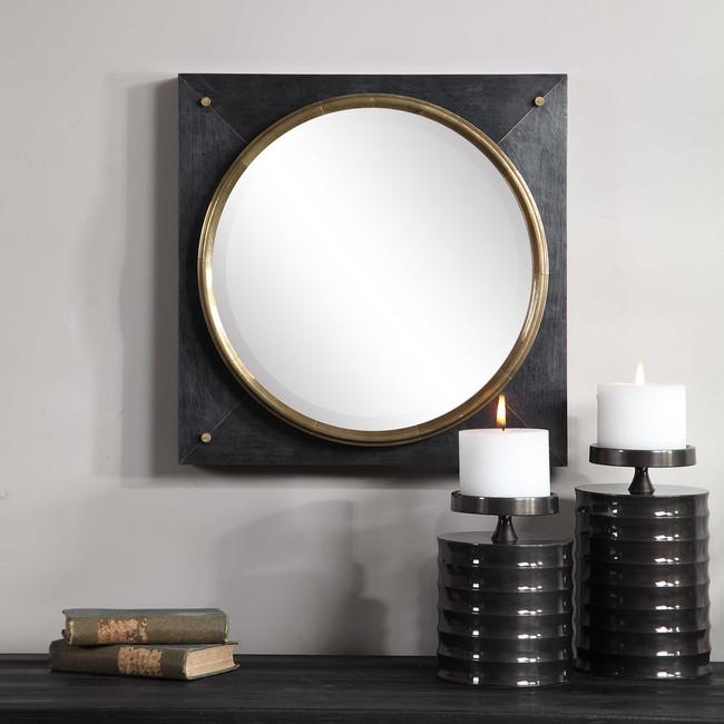 large black square mirror with gold metal detail modern