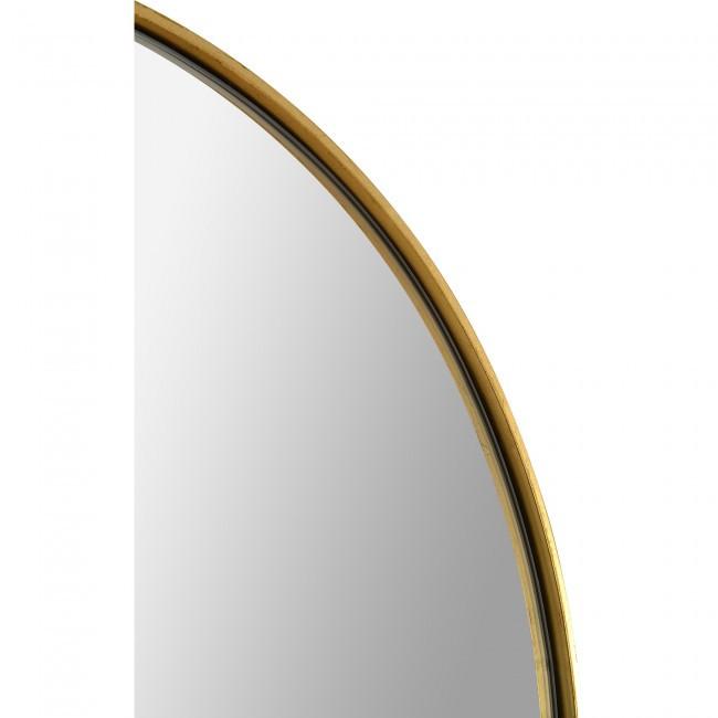 renwil marius gold leaf brass metal tall oval racetrack shape wall mirror 60