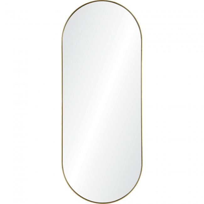 renwil marius gold leaf brass metal tall oval racetrack shape wall mirror