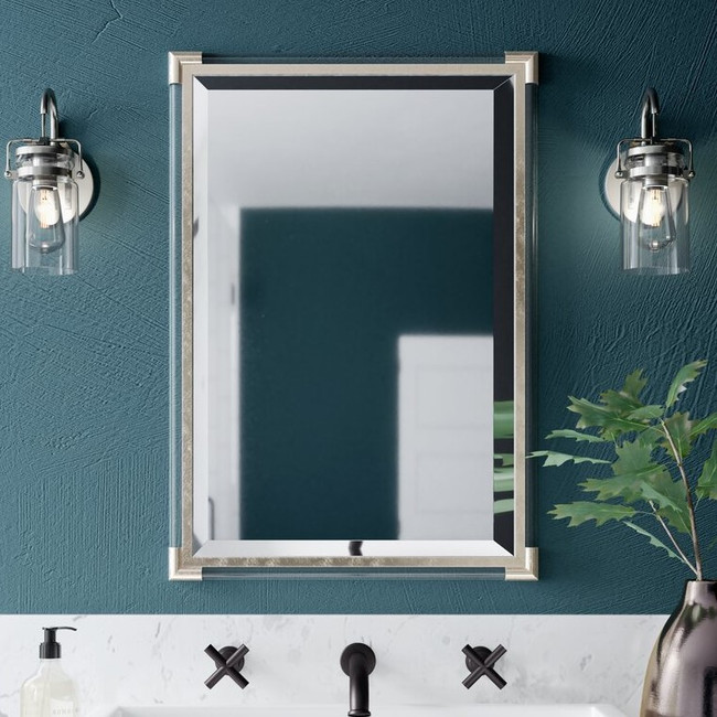 uttermost mackai wall mirror silver acrylic rectangular bathroom