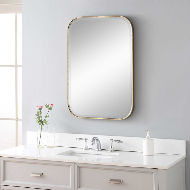Gold Bamboo Frame Vanity Mirror Clear Home Design