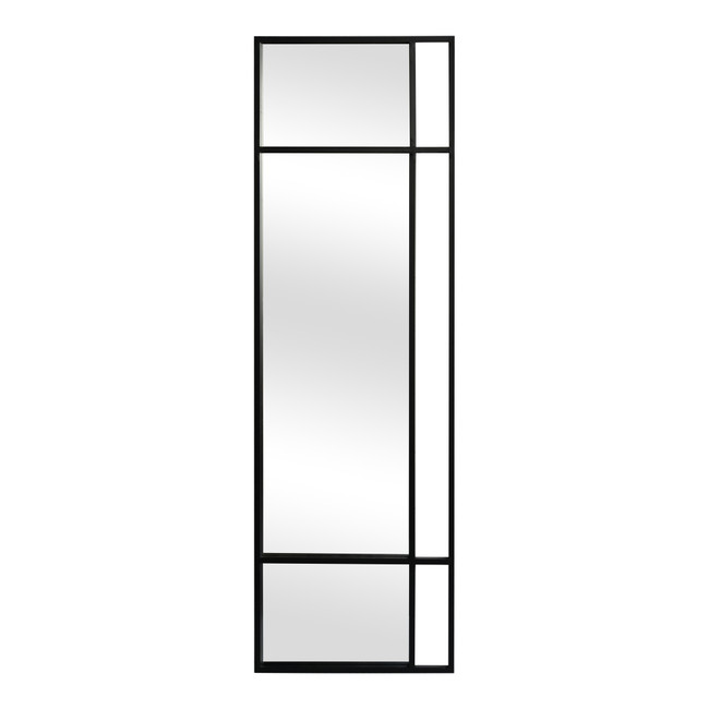 modern floor standing Moe's Home Collection Grid Black Rectangular Wall Mirror windowpane style