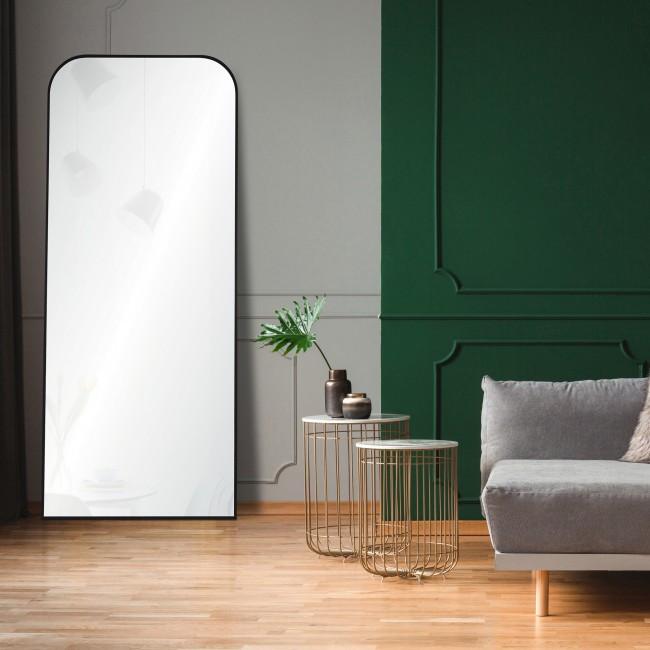 renwil mandret arch top modern black metal leaner wall floor standing mirror