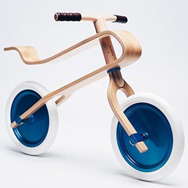 Brum Brum wooden balance bike for kids Oak modern mid century Blue White