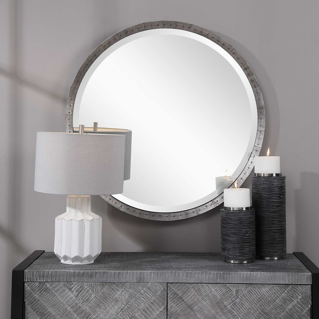 uttermost bartow steel grey industrial style rustic round wall mirror 34 inch
