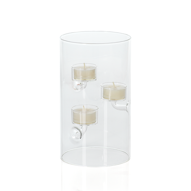 zodax Suspended Glass Tealight Holder / Hurricane - Extra Large tall clear modern