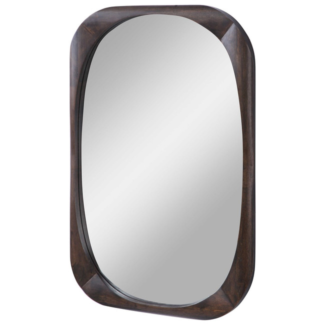 Uttermost 09552 Sheldon Mid-Century Mirror dark walnut stain wood