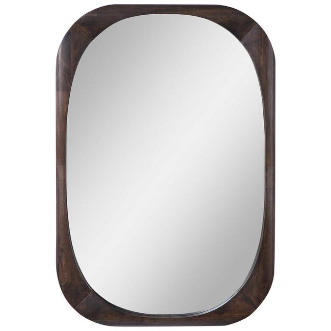 Uttermost 09552 Sheldon Mid-Century Mirror dark walnut stain wood modern
